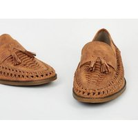 Tan Woven Tassel Front Loafers New Look