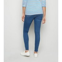 Maternity Blue Ripped Knee Under Bump Skinny Jeans New Look