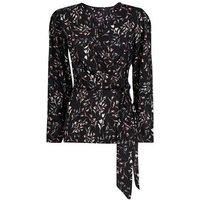 Apricot Black Ditsy Tulip Print Wrap Shirt New Look