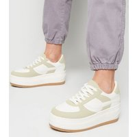 White Colour Block Chunky Flatform Trainers New Look
