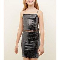 Girls Black Mirrored Sequin Cami New Look