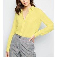 Yellow Crepe Long Sleeve Shirt New Look