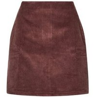 Rust Corduroy Pocket Side Mini Skirt New Look
