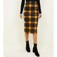 Black and Mustard Check Pencil Midi Skirt New Look