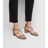Stone Faux Snake Low Block Heel Sandals New Look