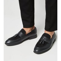 Black Mixed Material Tassel Loafers New Look
