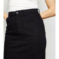 Black High Waist Denim Midi Skirt New Look