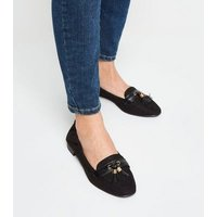 Wide Fit Black Square Toe Tassel Loafers New Look