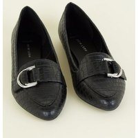 Wide Fit Black Faux Crock D-Ring Loafer New Look