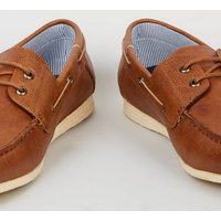 Men's Tan Leather-Look Boat Shoes New Look