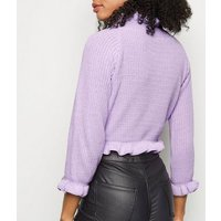 Cameo Rose Lilac Frill Trim Cropped Jumper New Look