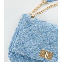 Blue Denim Chain Shoulder Bag New Look