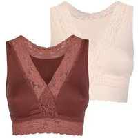 Maternity 2 Pack Plum Lace Trim Sleep Bras New Look