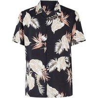 Black Leaf Print Revere Collar Shirt New Look