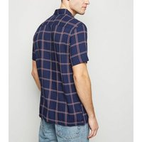 Navy Check Print Short Sleeve Shirt New Look