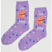 Lilac Zero Fox Given Slogan Socks New Look