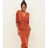 Rust Kimono Sleeve Twist Front Midi Dress New Look