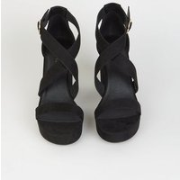 Black Suedette Cross Strap Block Heels New Look