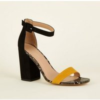 Orange and Black Faux Snakeskin Block Heels New Look