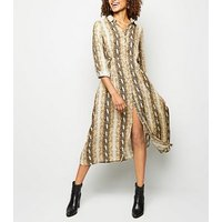 Blue-Vanilla-Brown-Snake-Print-Midi-Shirt-Dress-New-Look