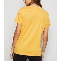 Mustard Organic Cotton Roll Sleeve T-Shirt New Look