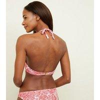 Red Scarf Print Underwired Plunge Bikini Top New Look