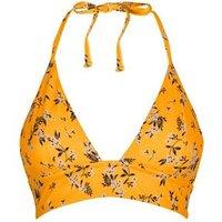Yellow Ditsy Floral Longline Triangle Bikini Top New Look