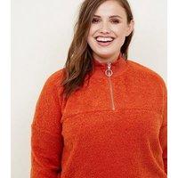 Curves Orange Borg Ring Zip Up Funnel Neck Sweatshirt New Look