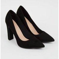 Wide Fit Black Suedette Slim Block Heel Courts New Look