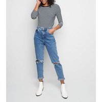 white stripe 3/4 sleeve t-shirt new look
