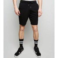 Men's Black Drawstring Waist Jersey Shorts New Look