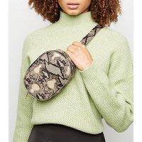 Black Faux Snake Zip Top Bum Bag New Look