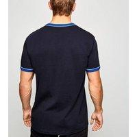 Navy Worldwide 1991 Print Ringer T-Shirt New Look