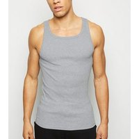 Grey Marl Ribbed Muscle Fit Vest New Look