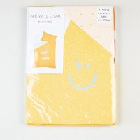 Yellow Flecked Happy Slogan Cotton Single Duvet Set New Look