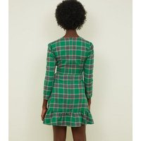 Tokyo Doll Green Check Wrap Front Frill Dress New Look