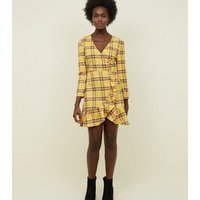 Tokyo Doll Yellow Check Wrap Front Frill Dress New Look