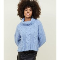 Pale Blue Chenille Cable Glittery Knit Jumper New Look