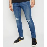 Men's Blue Ripped Knee Super Skinny Stretch Jeans New Look