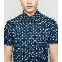 Navy Tile Print Muscle Fit Short Sleeve Shirt New Look