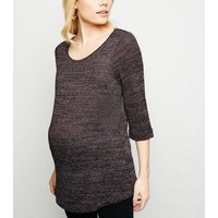 Maternity Burgundy 3/4 Sleeve Fine Knit Top New Look