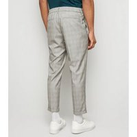 Pale Grey Grid Check Half Elasticated Trousers New Look