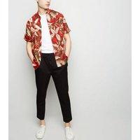 Red Leaf Print Revere Collar Shirt New Look