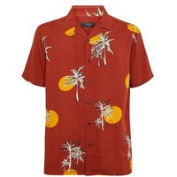 Rust Sun Palm Print Revere Collar Shirt New Look