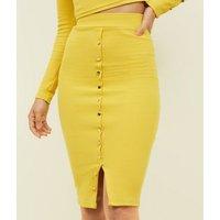 Tokyo Doll Mustard Popper Front Midi Skirt New Look