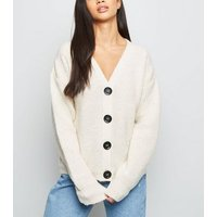Petite Cream Fisherman Knit Button Up Cardigan New Look