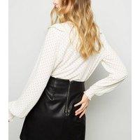 White Spot Print Ruffle Trim Blouse New Look