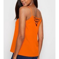 Bright Orange Neon Lattice Back Cami New Look