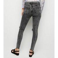 Black Acid Wash Hallie Super Skinny Jeans New Look