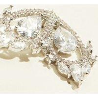 Silver Cubic Zirconia Floating Teardrop Stud Earrings New Look